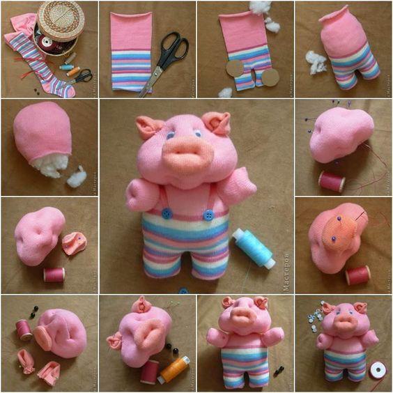 Как сделать свинку из носка